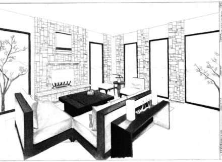 1 Point Perspective Drawing Room   Free download best 1 Point ...