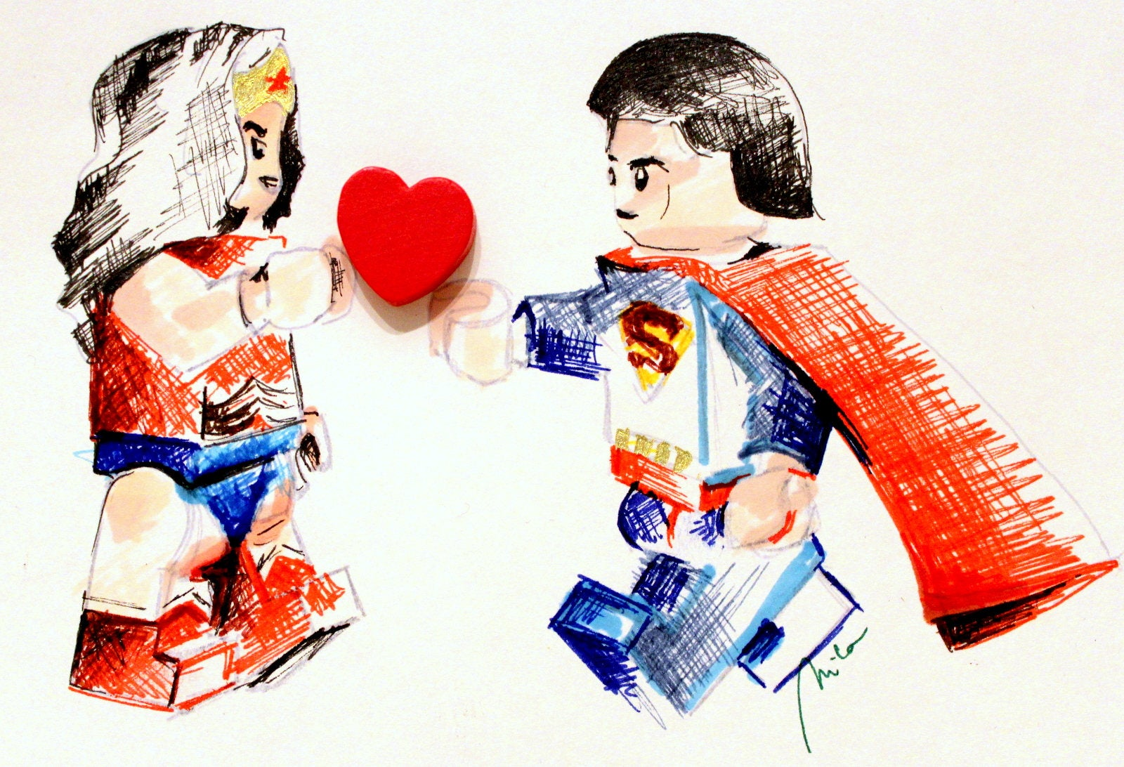 1600x1092 superman wonderwoman love art drawing box frame etsy