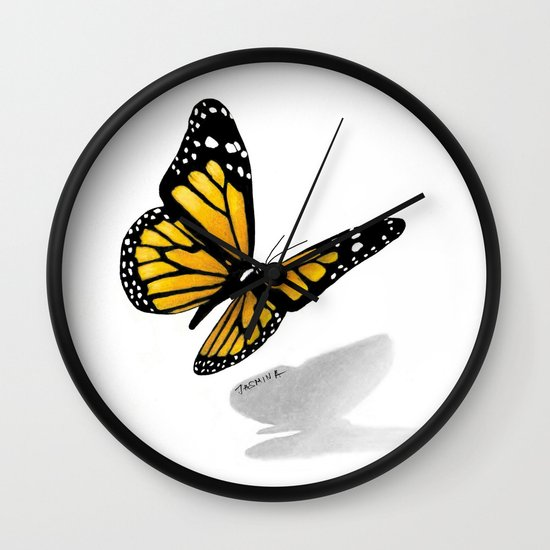 550x550 Butterfly Drawing Wall Clock