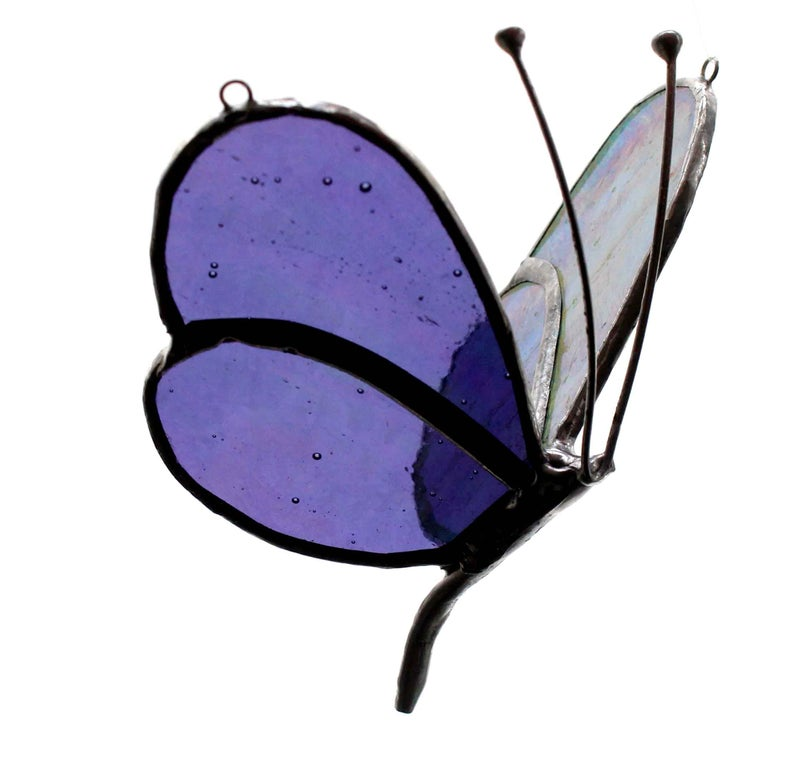 794x765 Purpe Iridescent Flying Stained Glass Butterfly Nursery Etsy