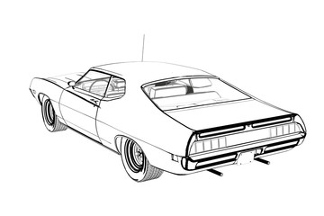 360x240 Retro Car Sketch Illustration