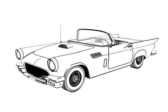 550x367 Retro Car Sketch Illustration Posters