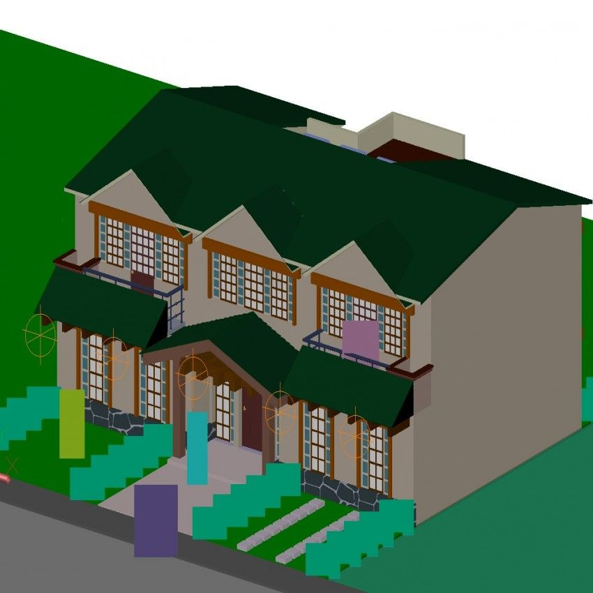 850x850 Suburban House In Dwg File Detail Drawing Of Bungalow