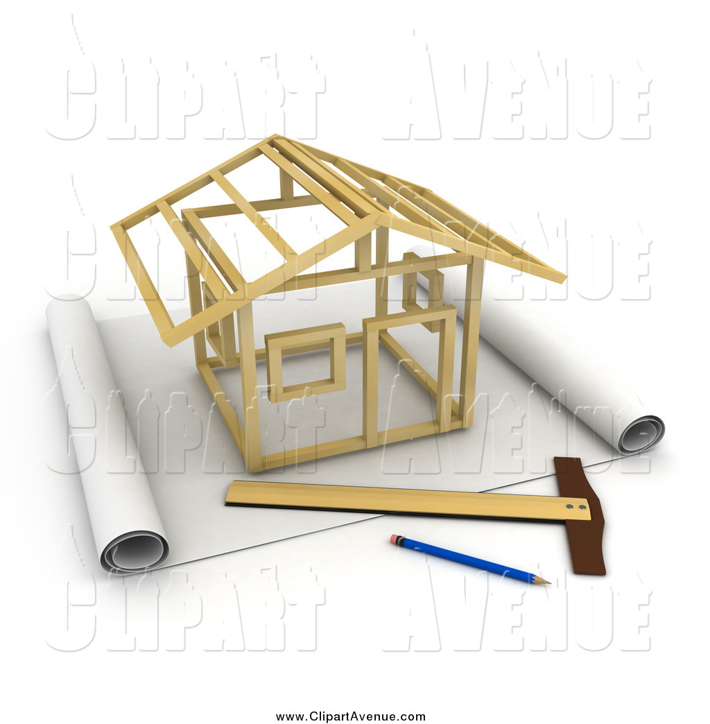 1024x1044 Avenue Clipart Of A Stick House Being Constructed On Blueprints
