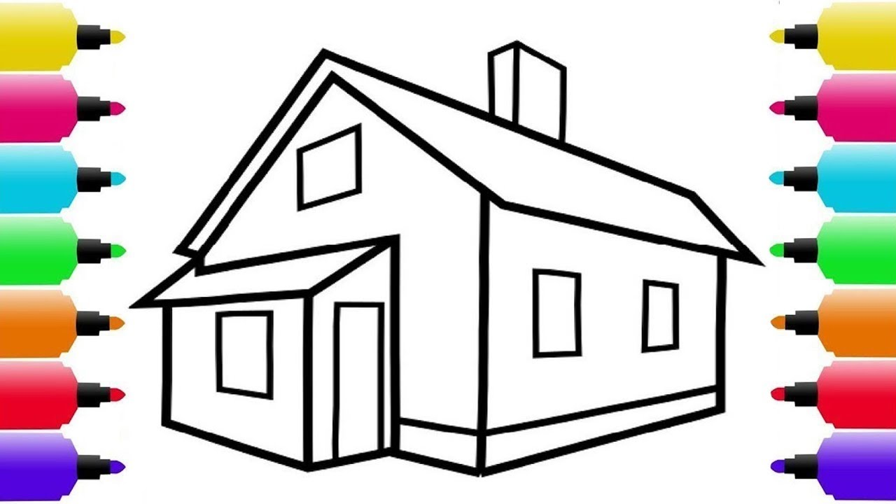1280x720 House Drawing And Coloring Pages For Kids