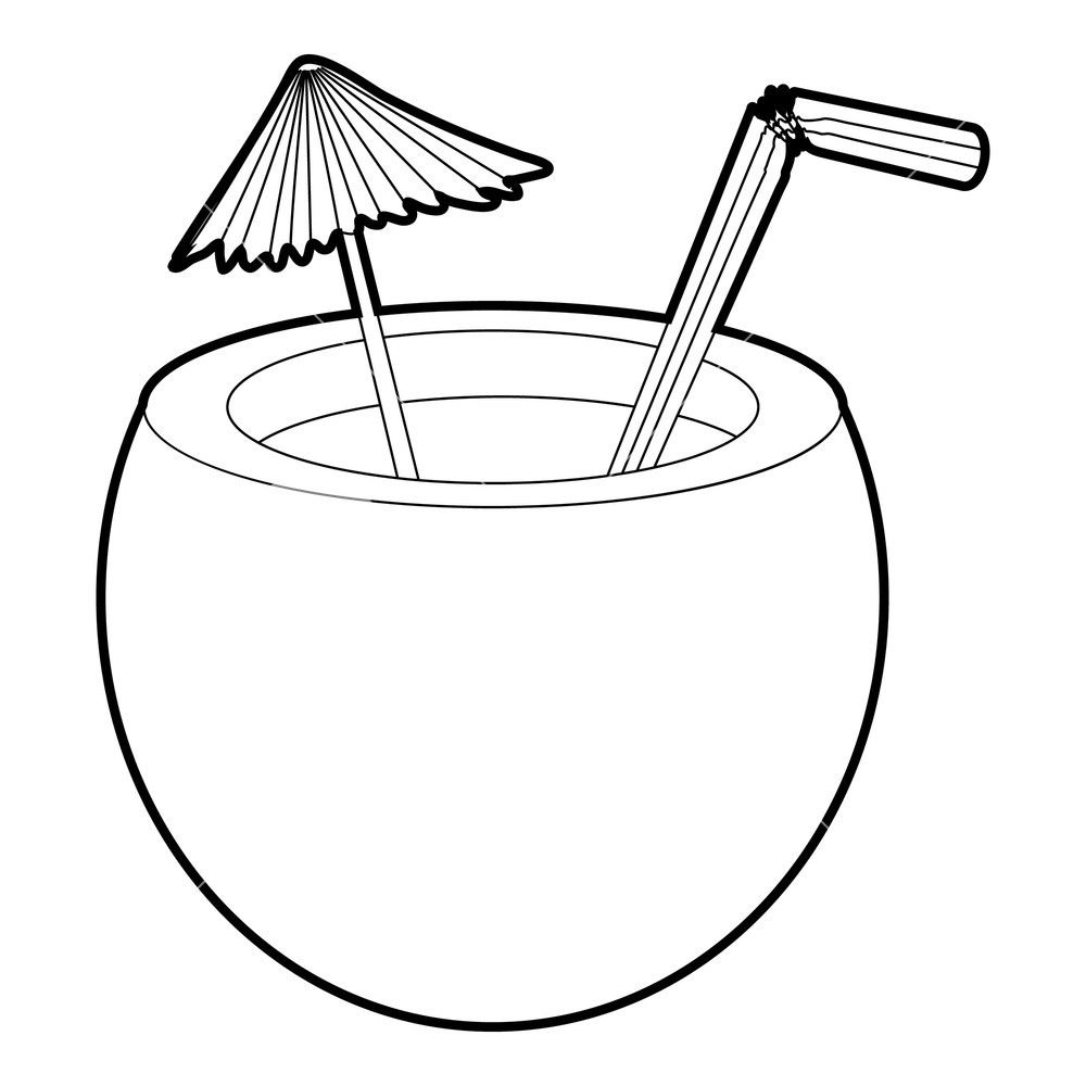 1000x1000 coconut cocktail icon isometric illustration of coconut