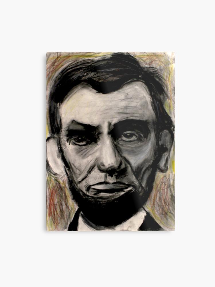 750x1000 Abraham Lincoln Charcoal Drawing Metal Print