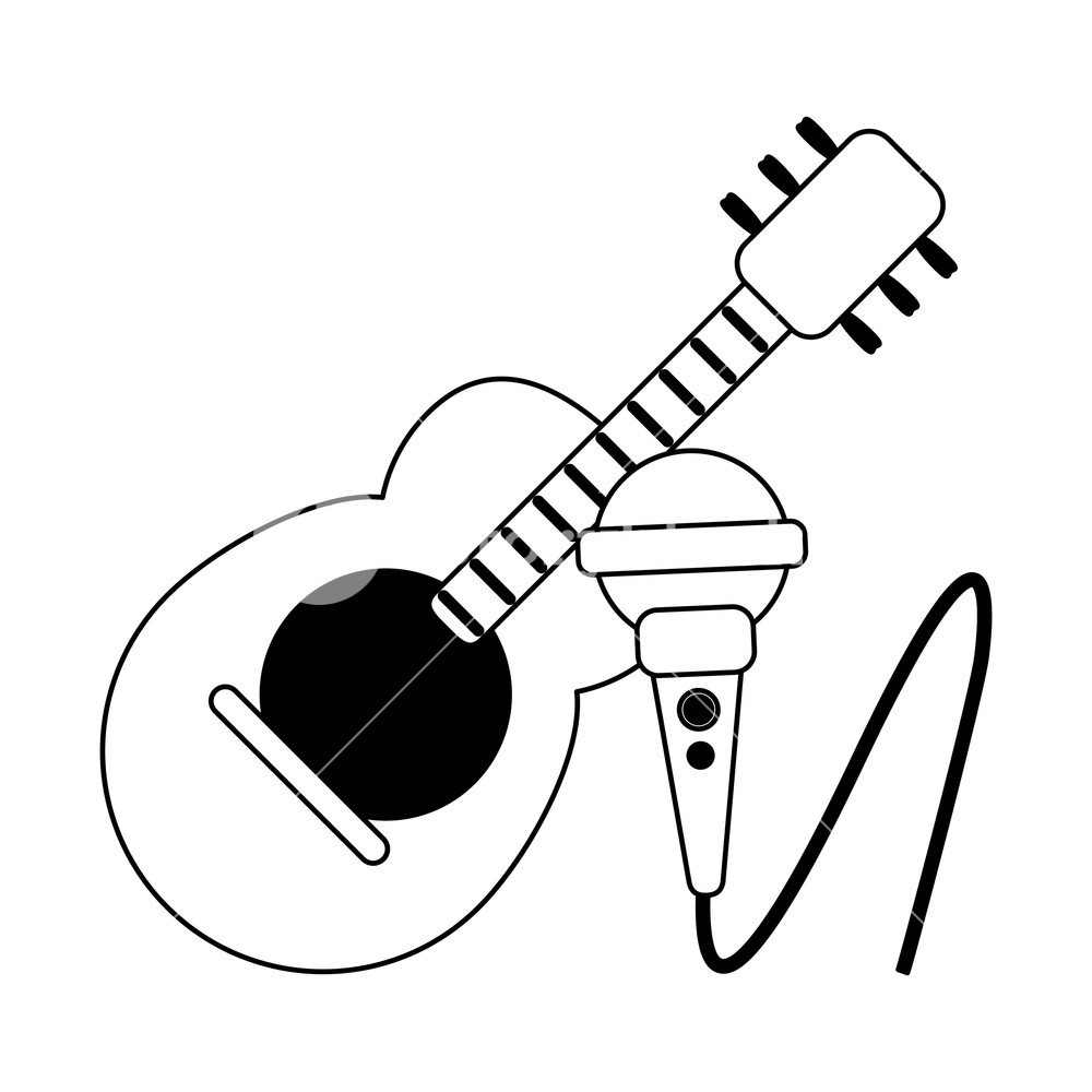 1000x1000 Acoustic Guitar And Microphone Cartoon Vector Illustration Graphic