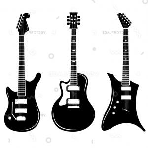 300x300 Continuous Line Drawing Electric Guitar Icon Outline Vector Web