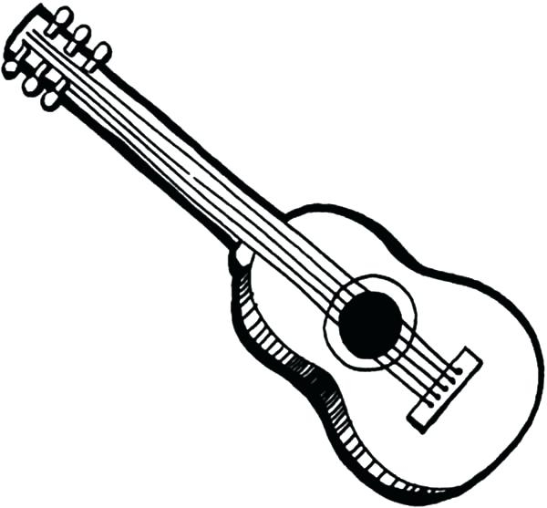 600x557 Guitar Coloring Pages Acoustic Guitar Coloring Pages Free For Kids