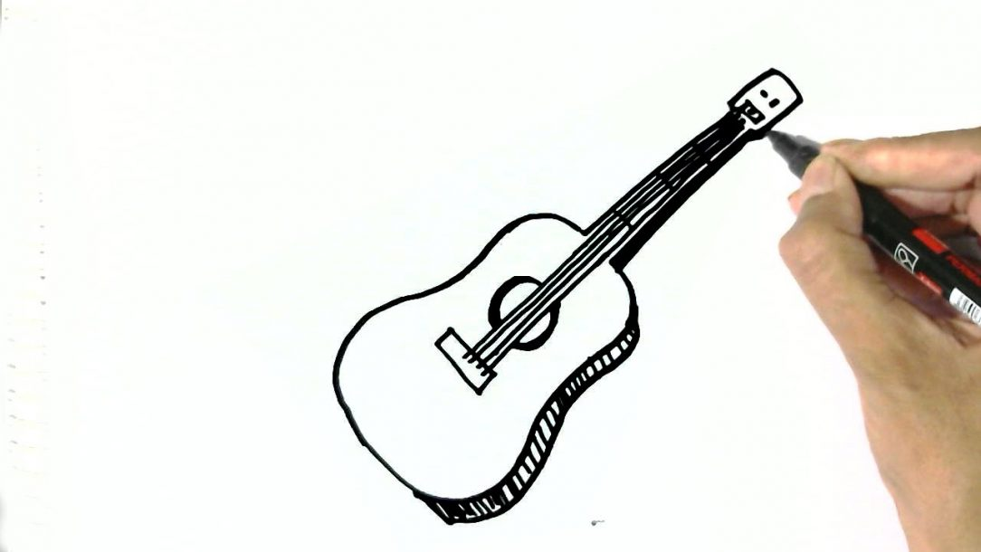 1084x610 Guitar Drawing Easy Step