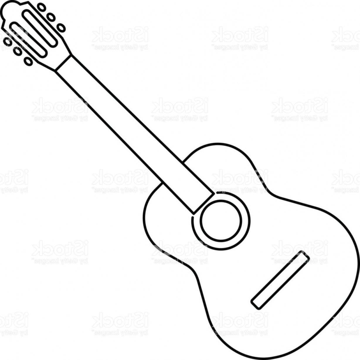 1228x1228 Icon Of Acoustic Guitar Icon Black Contour On White Background