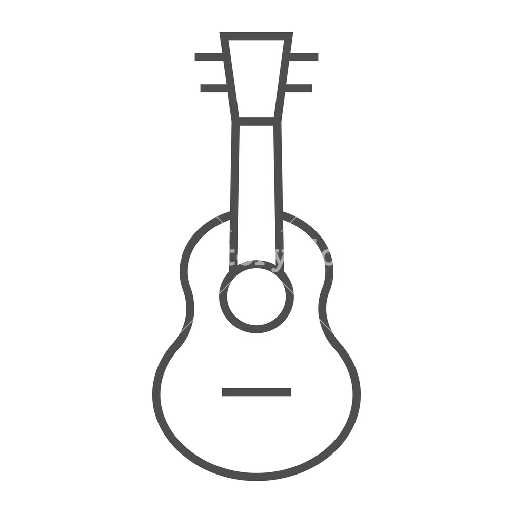 1000x1000 Ukulele Thin Line Icon, Music And String, Guitar Sign, Vector