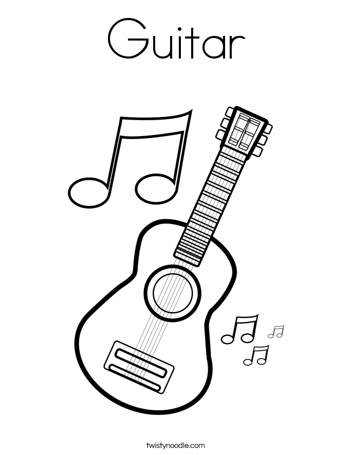 685x886 Acoustic Guitar Clipart Colouring