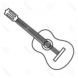 300x300 Acoustic Guitar Illustration Music Instrument Vector Line Sketch