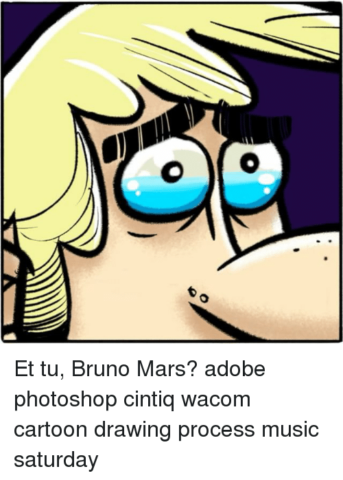 500x698 Et Tu Bruno Mars Adobe Photoshop Cintiq Wacom Cartoon Drawing