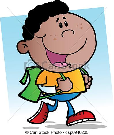396x470 African American Walking School Boy Illustration Clipart Vector