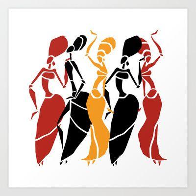 400x400 Abstract African Dancers Silhouette Figures Of African Women Art