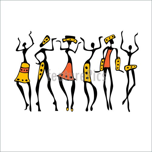 500x500 African American Dancers Silhouette Illustration