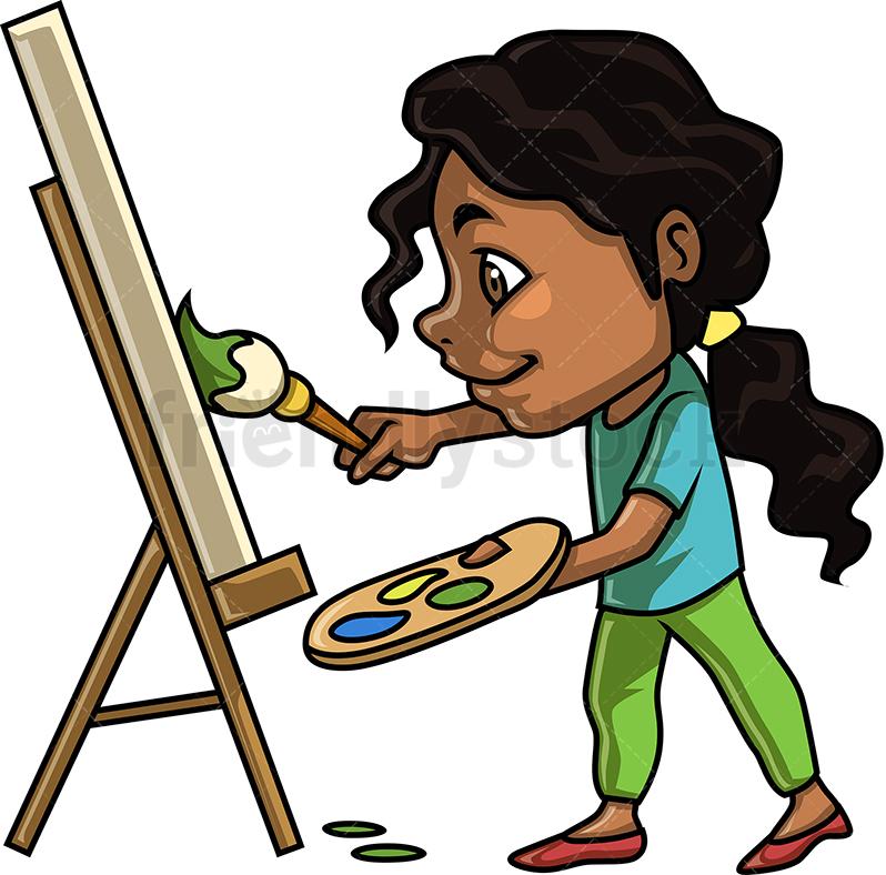 798x788 Black Little Girl Painting Cartoon Clipart Vector
