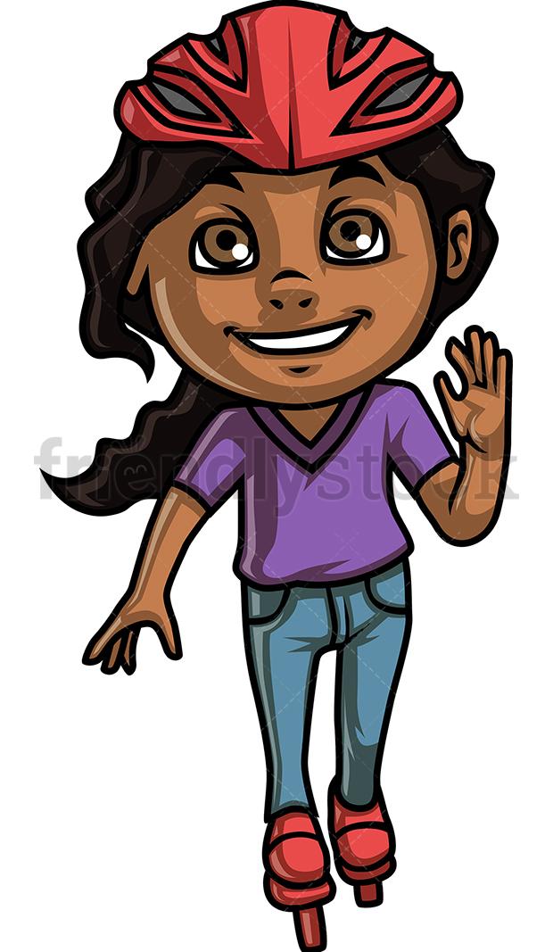620x1067 African American Girl Roller Skating Cartoon Clipart Vector