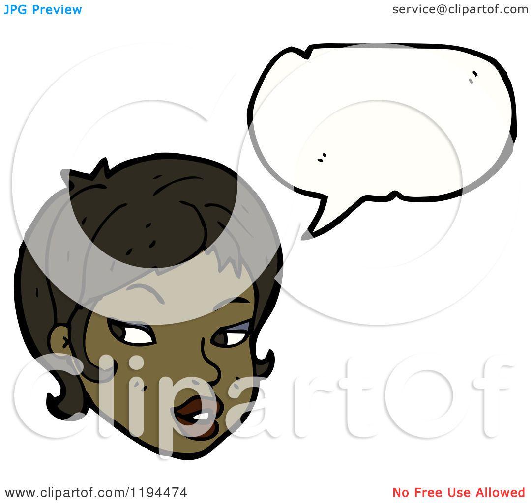 1080x1024 Cartoon Of An African American Girl Speaking
