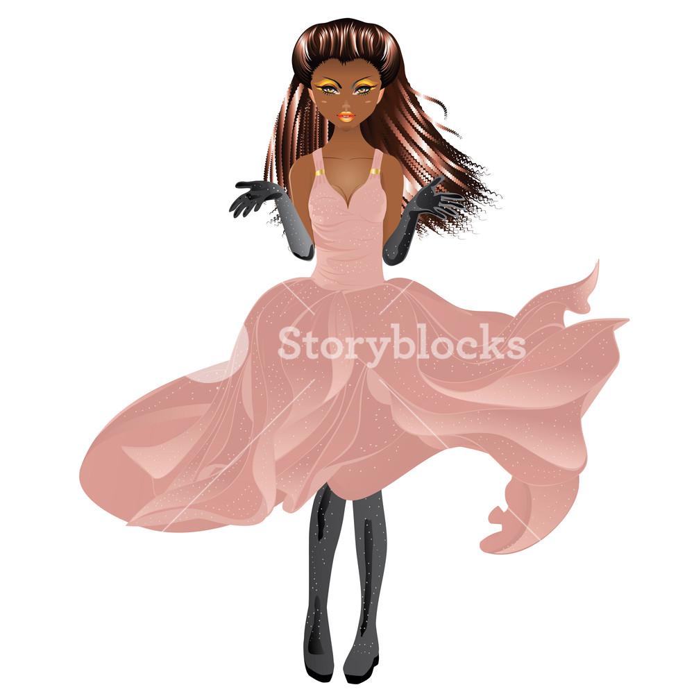 1000x1000 Fashion African American Girl Wears Stylish Flowing Dress Royalty