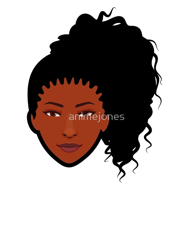 666x800 Natural Hair African American Woman Icon Curly Pony Tail