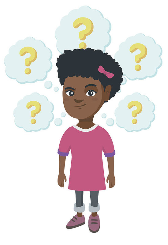549x800 Thinking African American Girl With Question Marks Art Print