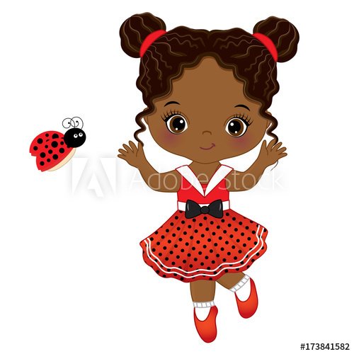500x500 Vector Cute Little African American Girl With Ladybug