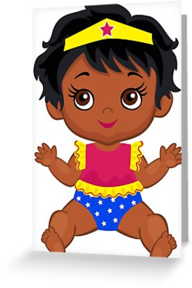 277x415 African American Wonder Women Baby Greeting Cards