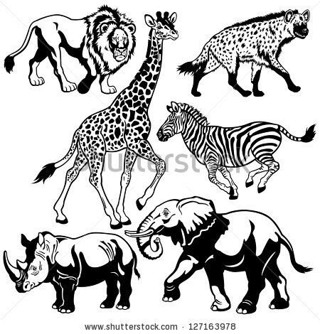 450x470 Free Wildlife Black And White Drawings