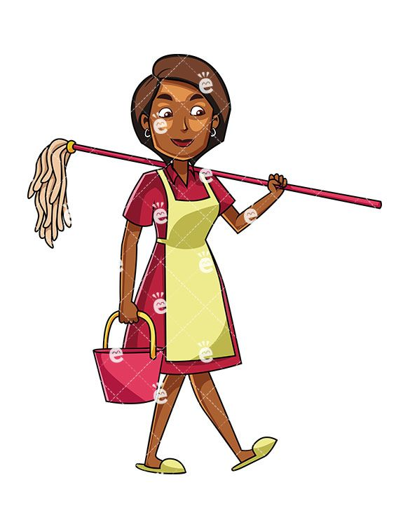 585x755 A Black Woman Carrying A Mop And A Bucket Cleaning! Black