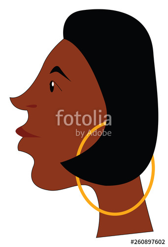 341x500 The Side View Of The Face Of An African Girl Wearing Golden