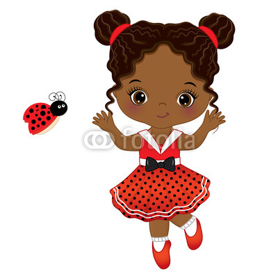 400x400 Vector Cute Little African American Girl With Ladybug Buy Photos