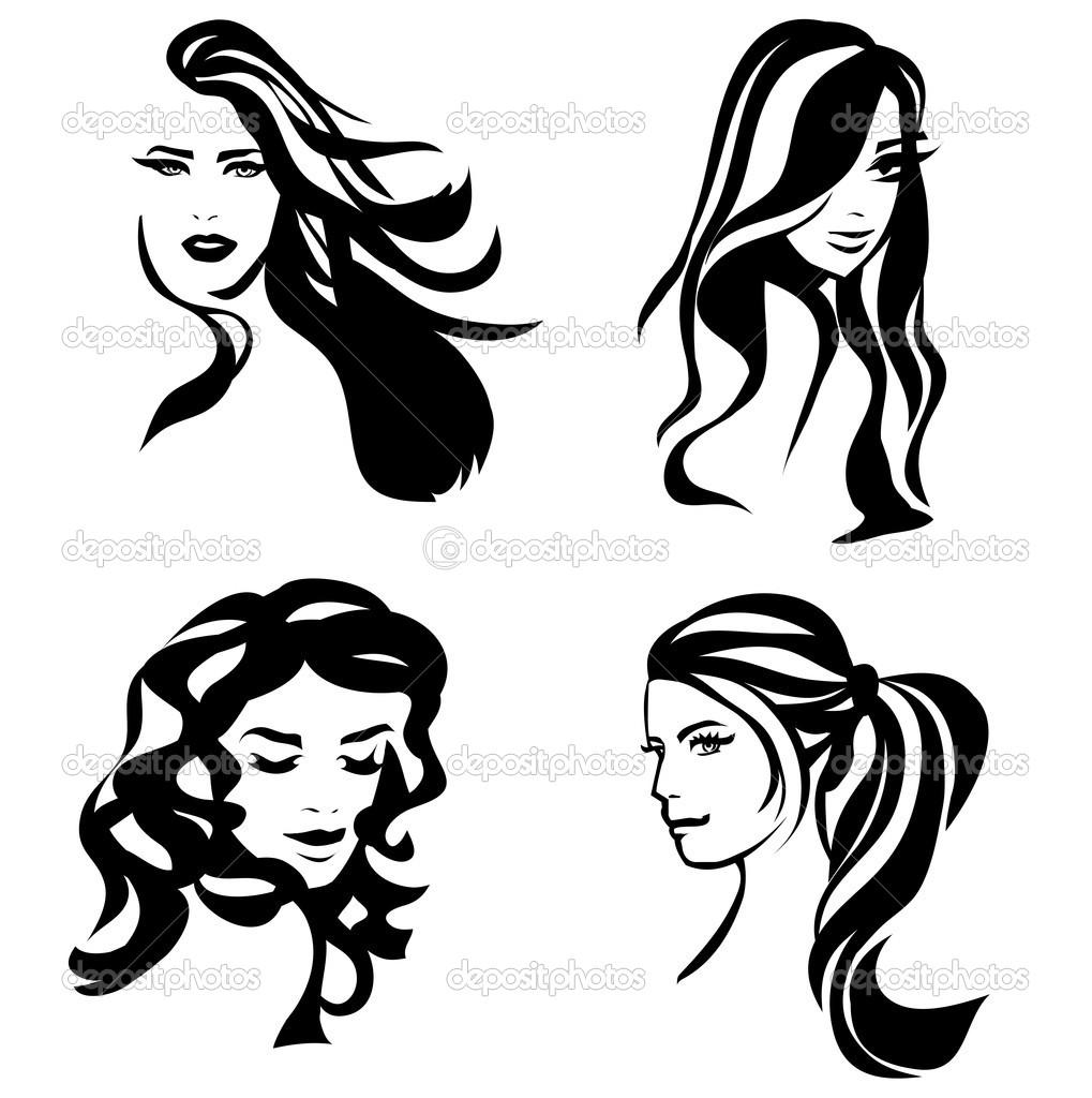 1019x1024 Hair Silhouette Drawing