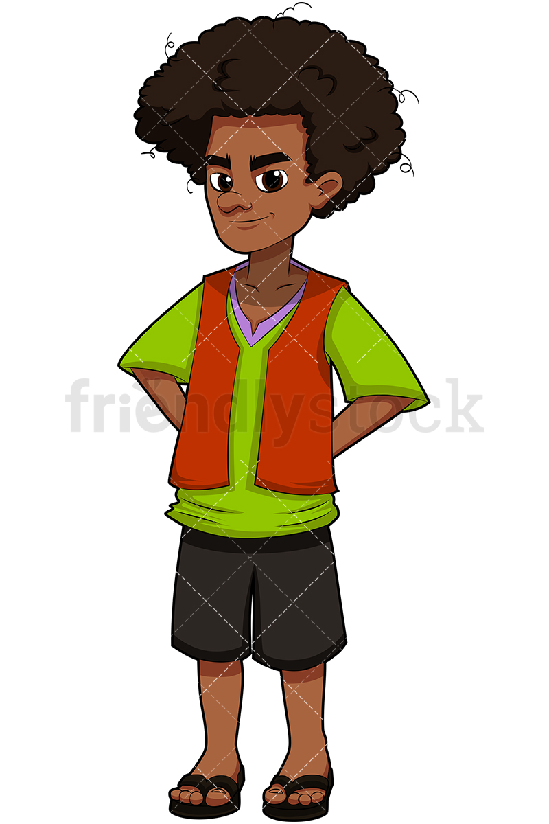 800x1200 Young Black Man With Afro Hair Cartoon Vector Clipart