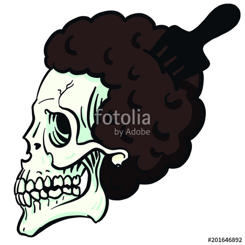 500x500 Cool Hip Hop Vector Skull With Afro Hair And Afro Comb Stock