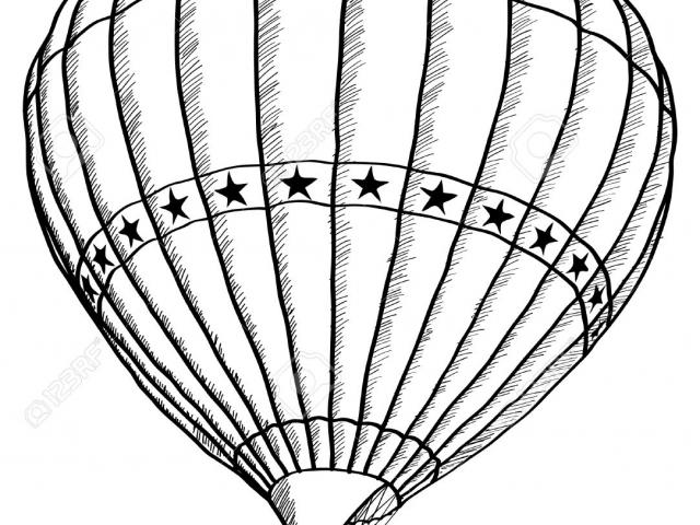 640x480 Hot Air Balloon Clipart Line Drawing