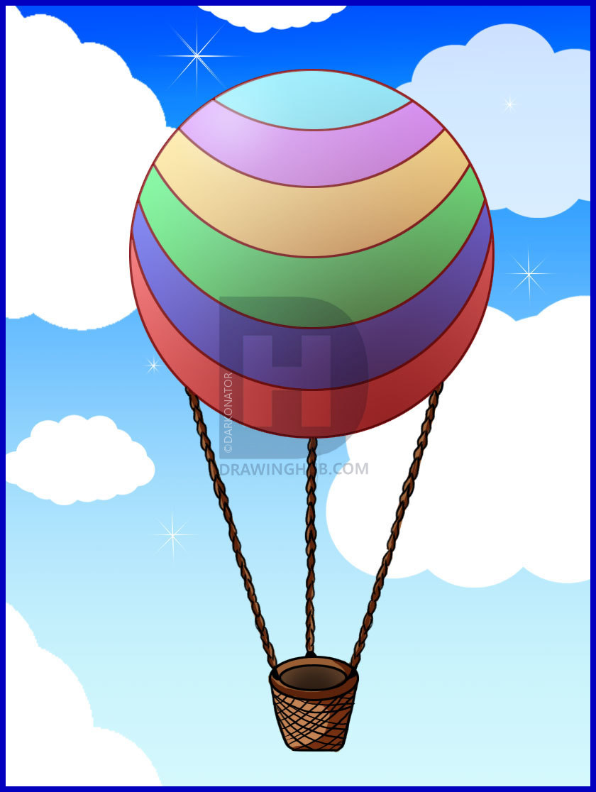 840x1116 How To Draw A Hot Air Balloon, Step