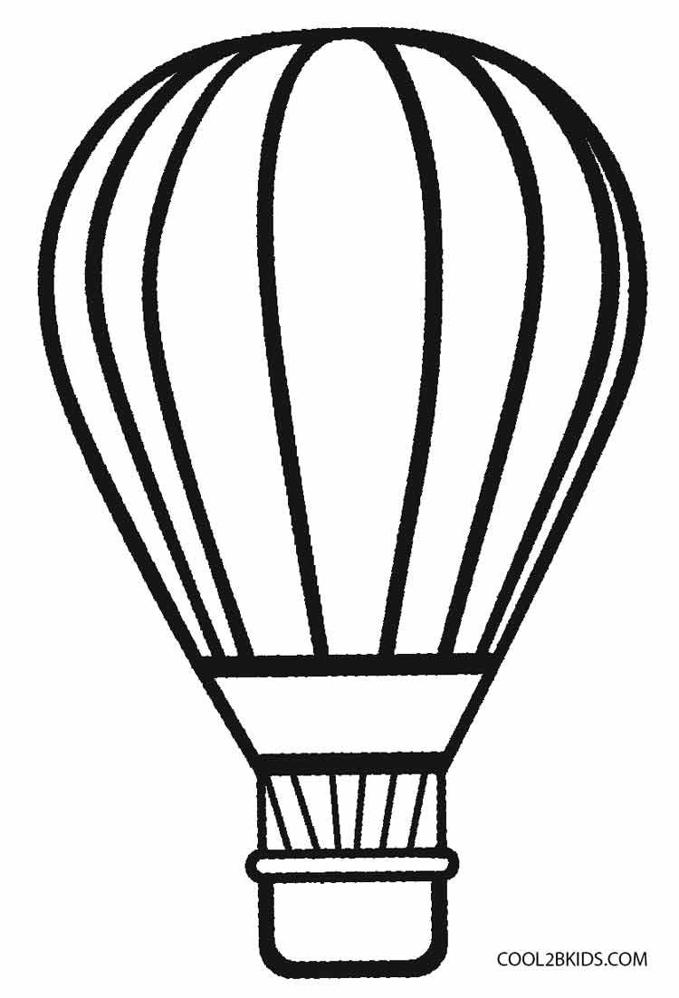 750x1102 How To Draw Hot Air Balloon In Clouds Coloring Pages For Kids Most