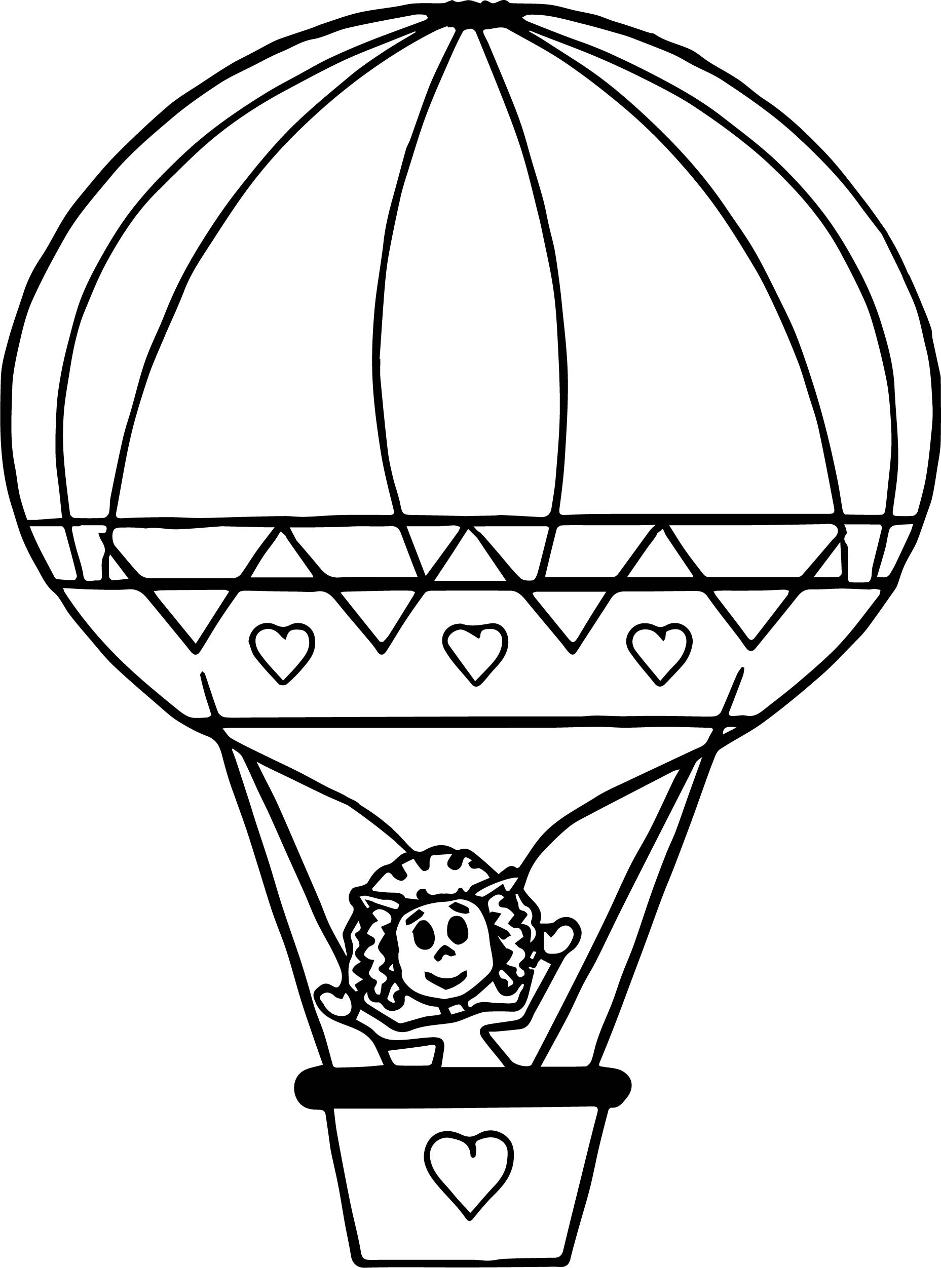 1857x2504 Cute Drawing Air Balloon Coloring