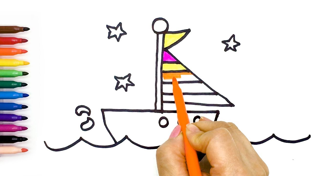 1280x720 How To Draw Boat, Airplane Drawing And Coloring Tutorials For Kids
