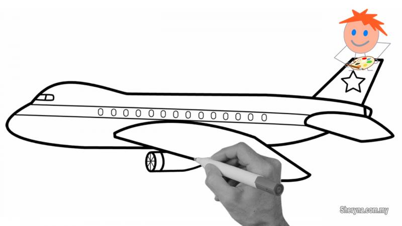 800x450 How To Draw An Airplane Easy Step
