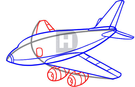574x372 How To Draw A Plane, Step