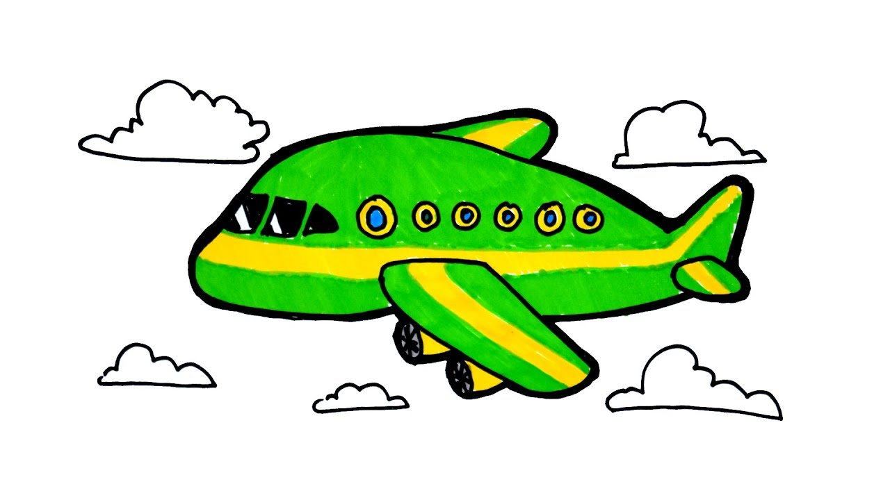 1280x720 How To Draw And Color Airplane Step