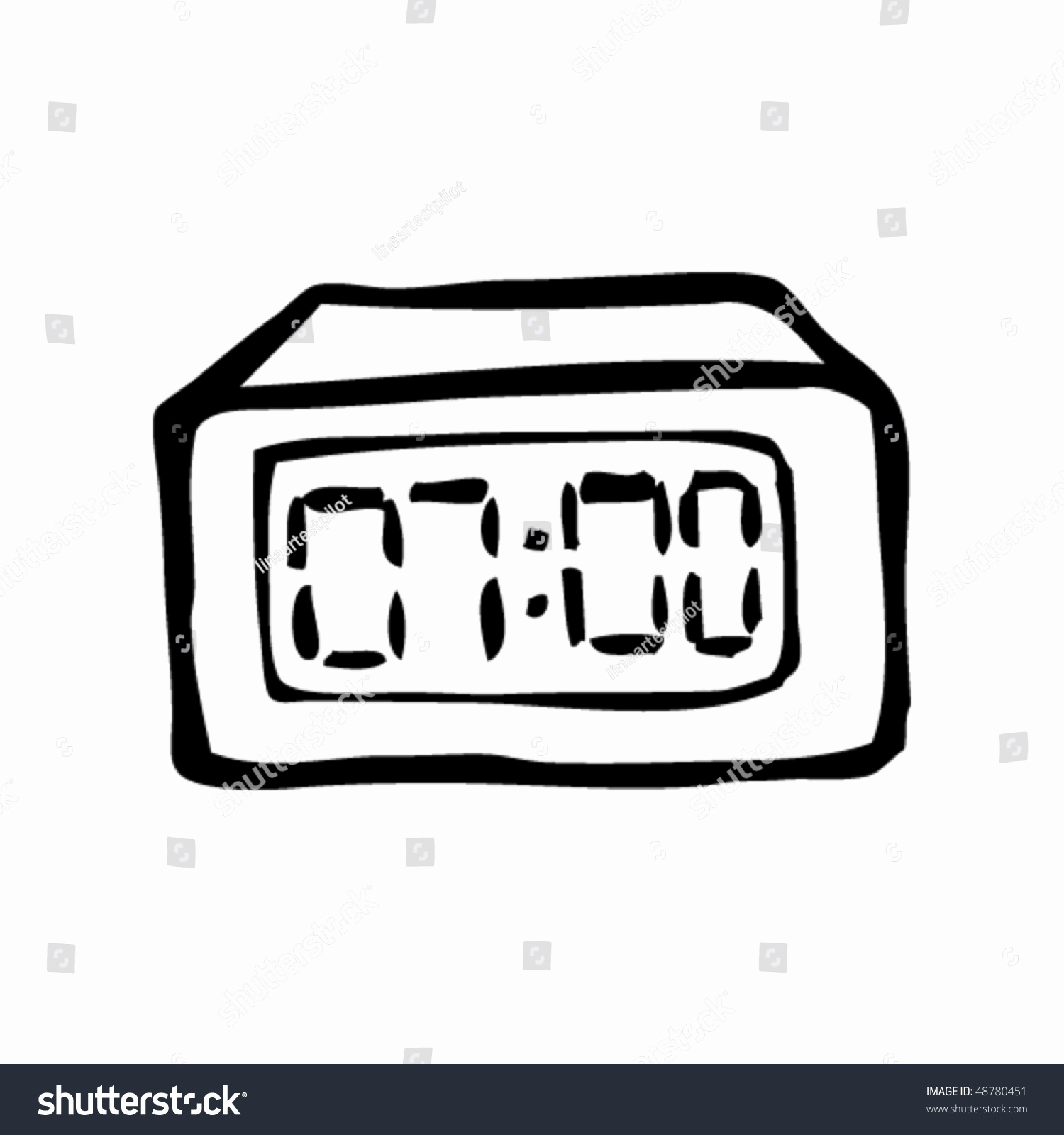 1500x1600 Digital Vector Awesome Alarm Clock Drawing Stock Vector Royalty