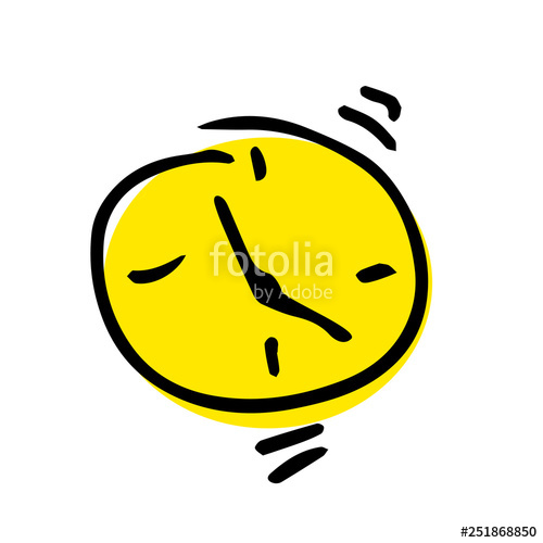 500x500 Free Hand Vector Drawing Of An Alarm Clock Stock Image