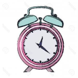 300x300 Photostock Vector Hand Drawing Color Pink Alarm Clock And Thick