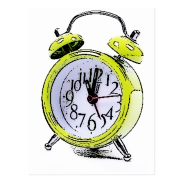 630x630 Time To Wake Up Yellow Alarm Clock Drawing Postcard Zazzle Ca